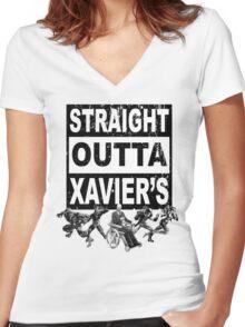 Straight Outta Xavier's •X-Men Compton Parody Women's Fitted V-Neck T-Shirt