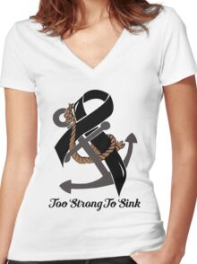 Nautical Themed Melanoma Ribbon Women's Fitted V-Neck T-Shirt