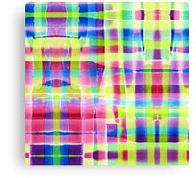 Hand-Painted Abstract Gingham Weave Neon Rainbow Canvas Print