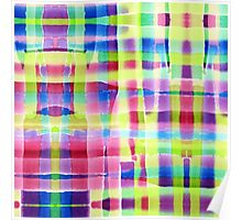 Hand-Painted Abstract Gingham Weave Neon Rainbow Poster