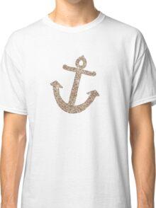 Gold Stripes Nautical Anchor Classic T-Shirt