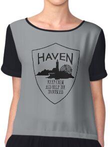 Haven Keep Calm Black Logo Badge Chiffon Top