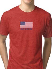Born in the USA Flag T-Shirt American Sticker Tri-blend T-Shirt
