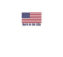 Born in the USA Flag T-Shirt - Famous Bruce Lyric - Homage to Springsteen Sticker by deanworld