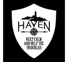 Haven Keep Calm White Badge Logo Photographic Print