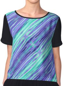 Hand-Painted Abstract Stripes Teal Violet Turquoise Purple Chiffon Top
