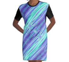 Hand-Painted Abstract Stripes Teal Violet Turquoise Purple Graphic T-Shirt Dress