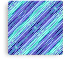 Hand-Painted Abstract Stripes Teal Violet Turquoise Purple Canvas Print