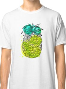 Juice pineapple. Hand drawn tropical fruit with watercolour splash Classic T-Shirt