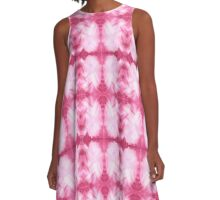 Hand-Painted Abstract Watercolor in Dark Pink and White A-Line Dress