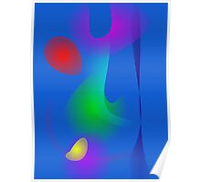 Floating Images in Blue Abstract Art Poster
