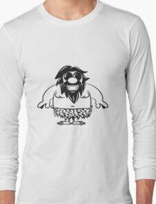 Steinzeitmensch höhlenmensch witzig fröhlich sonnenbrille  Long Sleeve T-Shirt