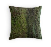 Rinde einer alten vermoosten Eiche / bark of an old  mossy oak tree Throw Pillow