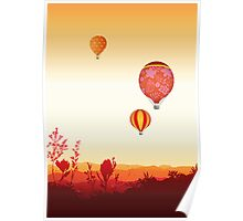 Hot air balloons sunset valley Poster