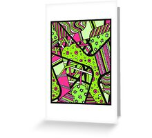 Miniature Aussie Tangle 12 Spring Variation Green and Pink Greeting Card