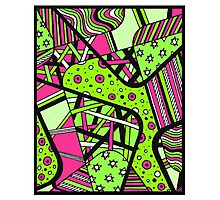 Miniature Aussie Tangle 12 Spring Variation Green and Pink Photographic Print