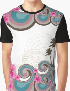 Tropical Waves & Fuchsia Pink Hibiscus Graphic T-Shirt