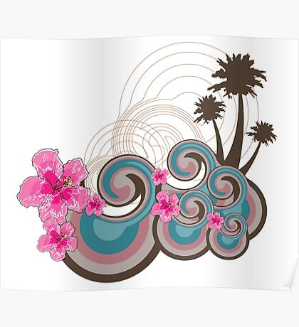 Tropical Waves & Fuchsia Pink Hibiscus Poster