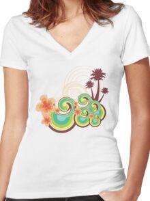 Tropical Beach Waves & Tangerine Orange Hibiscus Women's Fitted V-Neck T-Shirt