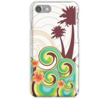 Tropical Beach Waves & Tangerine Orange Hibiscus iPhone Case/Skin