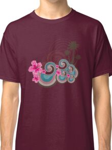 Tropical Waves & Fuchsia Pink Hibiscus Classic T-Shirt