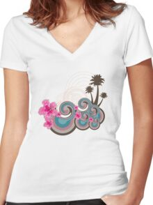 Tropical Waves & Fuchsia Pink Hibiscus Women's Fitted V-Neck T-Shirt