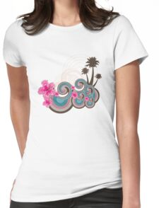 Tropical Waves & Fuchsia Pink Hibiscus Womens Fitted T-Shirt