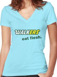 Walkers. Eat Flesh.™ Women's Fitted V-Neck T-Shirt