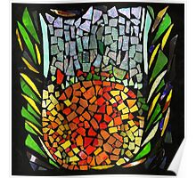 RECYCLED GLASS MOSAIC - Orange, green, mother of pearl. Poster