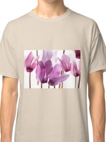 backlit violet petals (Cyclamen) on a lightbox Classic T-Shirt