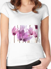 backlit violet petals (Cyclamen) on a lightbox Women's Fitted Scoop T-Shirt