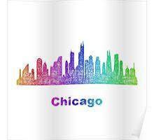Rainbow Chicago skyline Poster