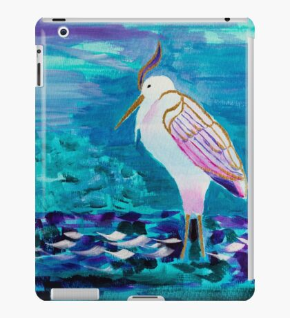 White Heron Egret Lake Bird Portrait Painting iPad Case/Skin