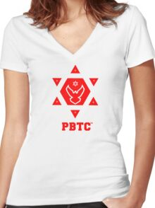 PBTC™ New Brand Logo - Powered By The Creator™  Women's Fitted V-Neck T-Shirt