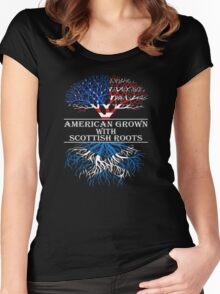 Proud Nation Gift American Grown With Scottish Roots T-Shirt Women's Fitted Scoop T-Shirt