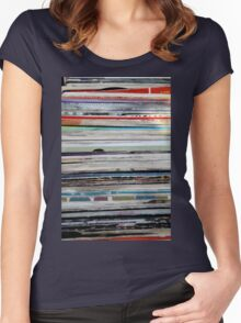 old vinyl records Women's Fitted Scoop T-Shirt