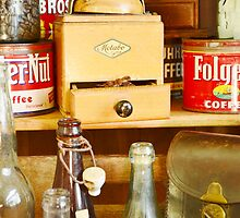 Antique Coffee Grinder and Folgers Can by Oscar Sage