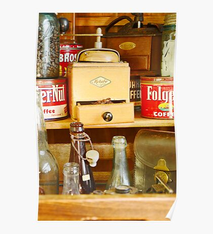 Antique Coffee Grinder and Folgers Can Poster