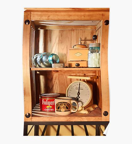 Antique Coffee Grinder and Folgers Can Scale Poster