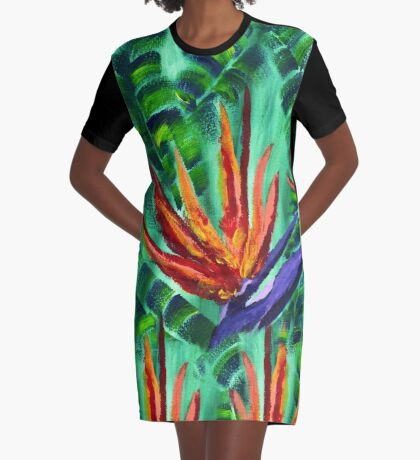 Bird of Paradise Crane Flower Acrylic Painting Graphic T-Shirt Dress