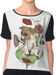 Puppy Bouquet Chiffon Top