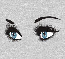 Blue eyes with long eyelashes  One Piece - Long Sleeve