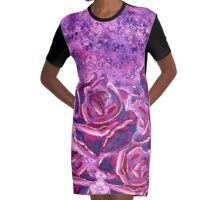 Blue Violet Winter Roses Acrylic Painting Graphic T-Shirt Dress