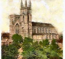 A digital painting of The Priory Church, Bridlington, Yorkshire, England - founded 1113 by Dennis Melling