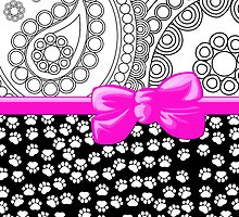 Ribbon, Bow, Dog Paws, Paisley - White Black Pink by sitnica