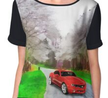 """"""" Life Is Like A Car. If You Keep Going In Reverse You Won't Get To Your Destination, But If You Speed Up And Don't Take The Time To Enjoy Your Surroundings You Might Get Lost """" Chiffon Top"""