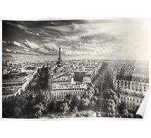 View of Paris & Eiffel Tower from up high Poster