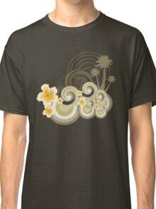 Tropical Beach Waves & Yellow Hibiscus Classic T-Shirt