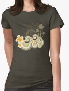 Tropical Beach Waves & Yellow Hibiscus Womens Fitted T-Shirt