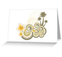 Tropical Beach Waves & Yellow Hibiscus Greeting Card
